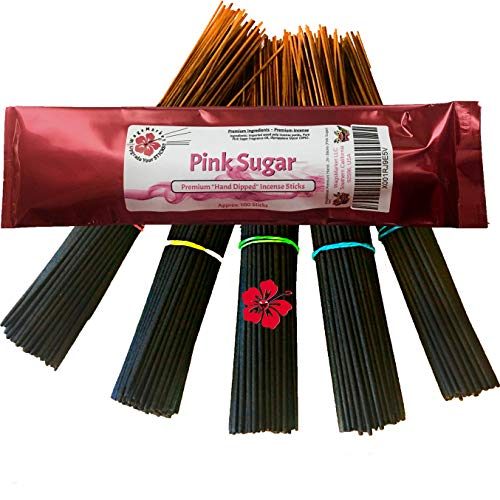 WagsMarket Premium Hand Dipped Incense Sticks, You Choose The Scent. 100-12in Sticks. (Pink Sugar)