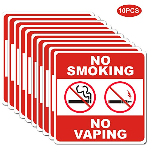 Laminated Sign Sticker - No Smoking No Vaping Sign Label Sticker Set of 10 Pack 6