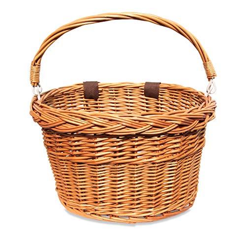 Colorbasket 01594 Adult Front Handlebar Wicker Bike Basket with Handle, 3...