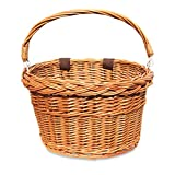 Colorbasket Adult Front Handlebar Wicker Bike Basket, Leather Straps