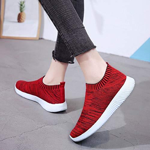 Estudiante De Gimnasia Running Rojo Rojo Shoes Para Sports Volar Zapatos Ligero Y Sneakers Zapatillas Malla Net Mujer Comodo Deportivos Riou Rosa Gris zxwAXd
