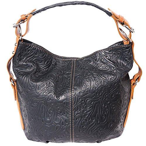 Florence Leather Market Bolso al hombro de Piel para mujer Grande Nero-cuoio