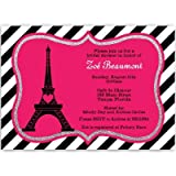 Bridal Shower Invitations, Paris, Eiffel Tower, Hot Pink, Black, Steampunk, Bistro, French, Vintage, Wedding, Personalized, Set of 10 Custom Printed Invites with White Envelopes, Paris Love Story
