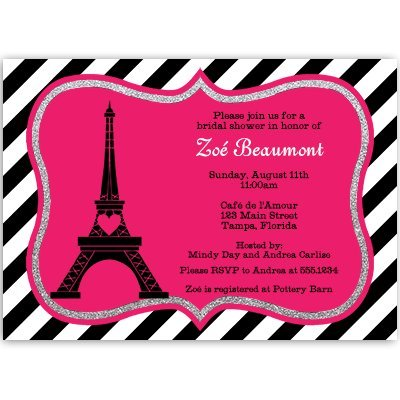 Bridal Shower Invitations, Paris, Eiffel Tower, Hot Pink, Black, Steampunk, Bistro, French, Vintage, Wedding, Personalized, Set of 10 Custom Printed Invites with White Envelopes, Paris Love Story by The Invite Lady