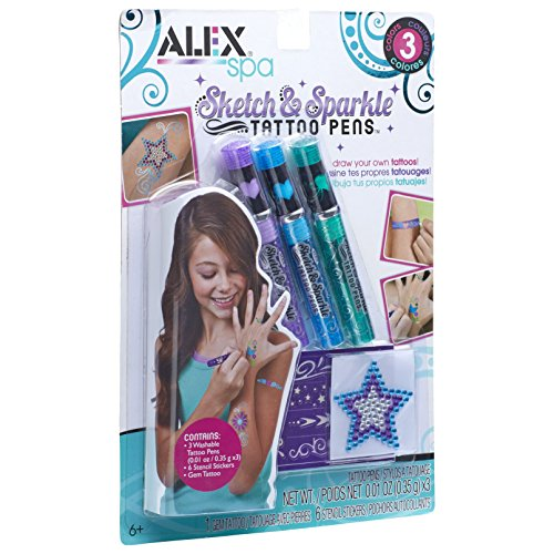 ALEX Spa Cool Colors Sketch & Sparkle Tattoo Pens 3 Pack