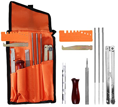 Arnolo 10 Piece Chainsaw Sharpener | Chainsaw Sharpening Kit Contains: 3Round Chain Saw Files 5/32, 3/16, 7/32 Inch-Handle- Depth Gauge- Filing Guide- Bar Groove Cleaner- Quick Check Gauge- Tool Pouch