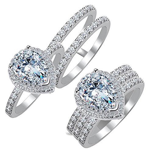 (Diamonbella Realistic Simulated Diamond Pear Shaped Halo Ring Double Band Set 2 Carat Solid 925 Silver Platinum Plated PEARDBSET45)