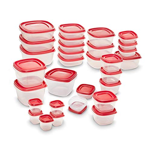 Rubbermaid Easy Find Lids Meal Prep Food Storage Containers, 60-Piece Set, Racer Red
