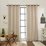 Cheap Best Home Fashion Linen Print Room Darkening Blackout Curtains – Stainless Steel Nickel Grommet Top – Beige – 52″W x 84″L (Set of 2 Panels)