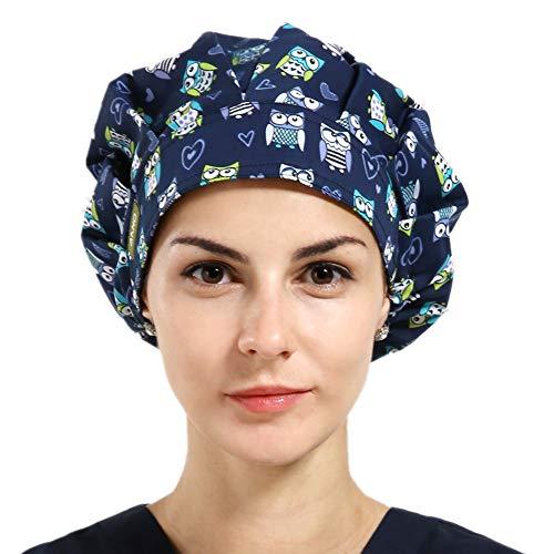 1pc Women's Bouffant Scrub Cap for Long Hair Ladies - Owls