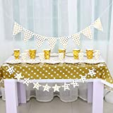 BALONAR Disposable Paper Party Supplies 50pcs Gold Spot Paper Plates Spot Cups Gold Spot Straws for Soft Drink with 2m Star Banner and Triangle Banner to Decoration Your Party Feast