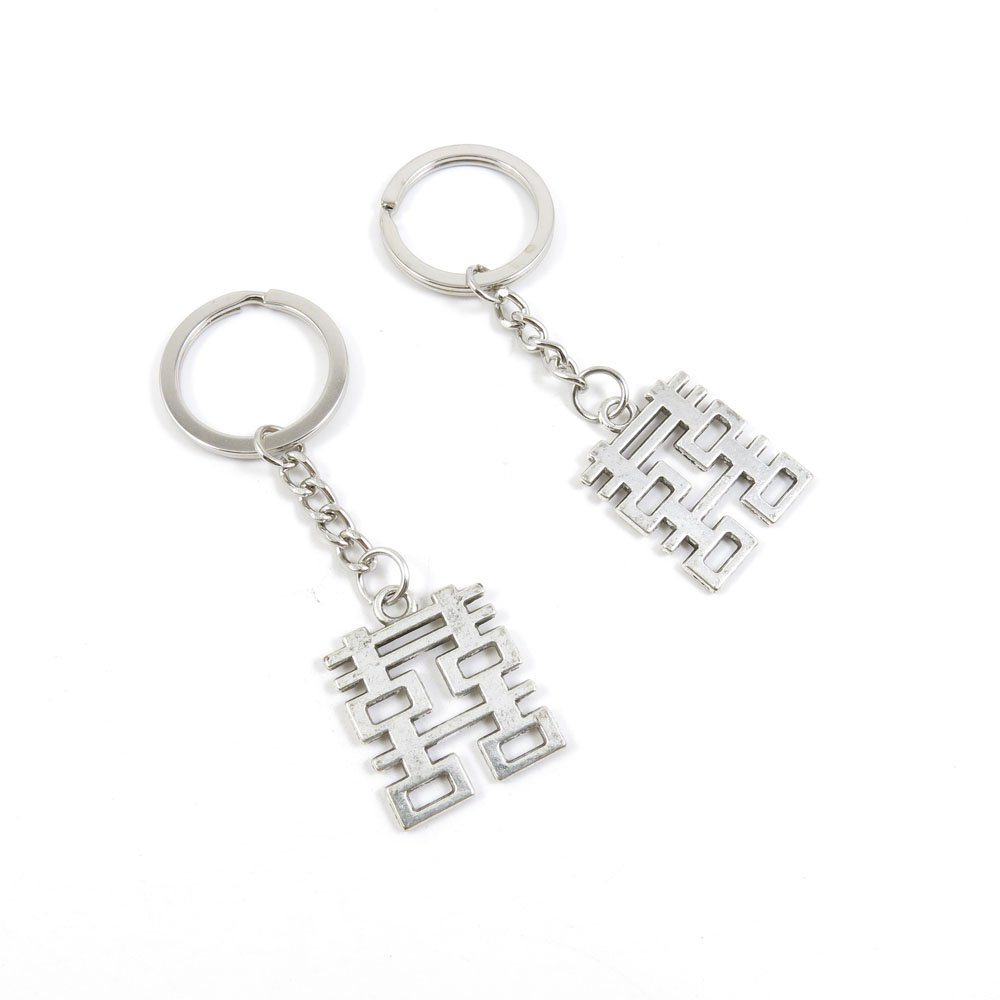 2 Pieces Keychain Door Car Key Chain Tags Keyring Ring Chain Keychain Supplies Antique Silver Tone Wholesale Bulk Lots N8GQ6 Double Happiness