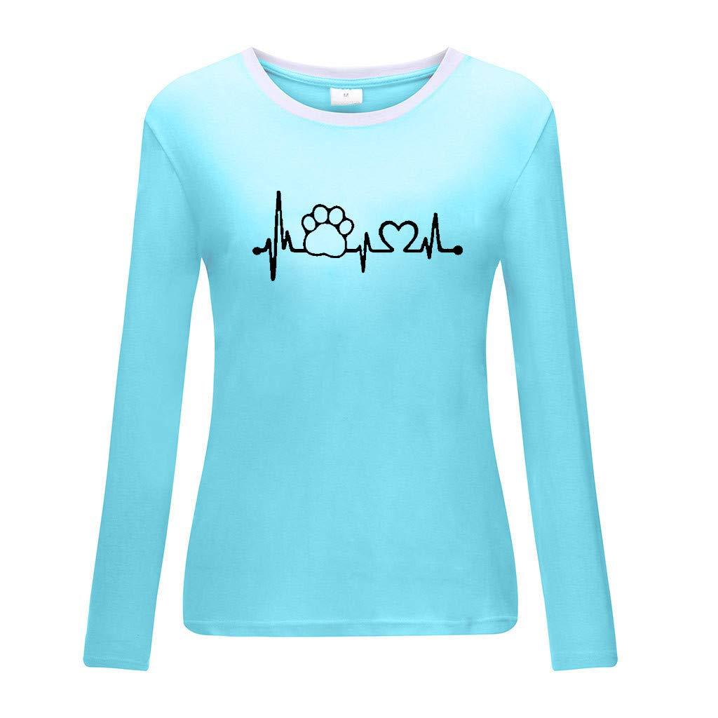 Camisetas para Mujer Manga Largas Oto/ño Tallas Grandes 2019 PAOLIAN Camisetas Basicas Mujer Invierno Cuello Redondo Estampados Blusas Fiesta Mujer Elegante Top Casual Vestir