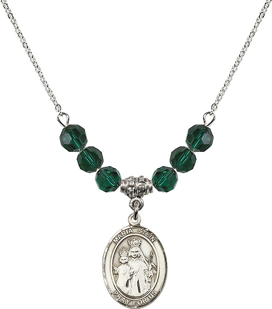 18-Inch Rhodium Plated Necklace with 6mm Emerald Birthstone Beads and Sterling Silver Maria Stein Charm.