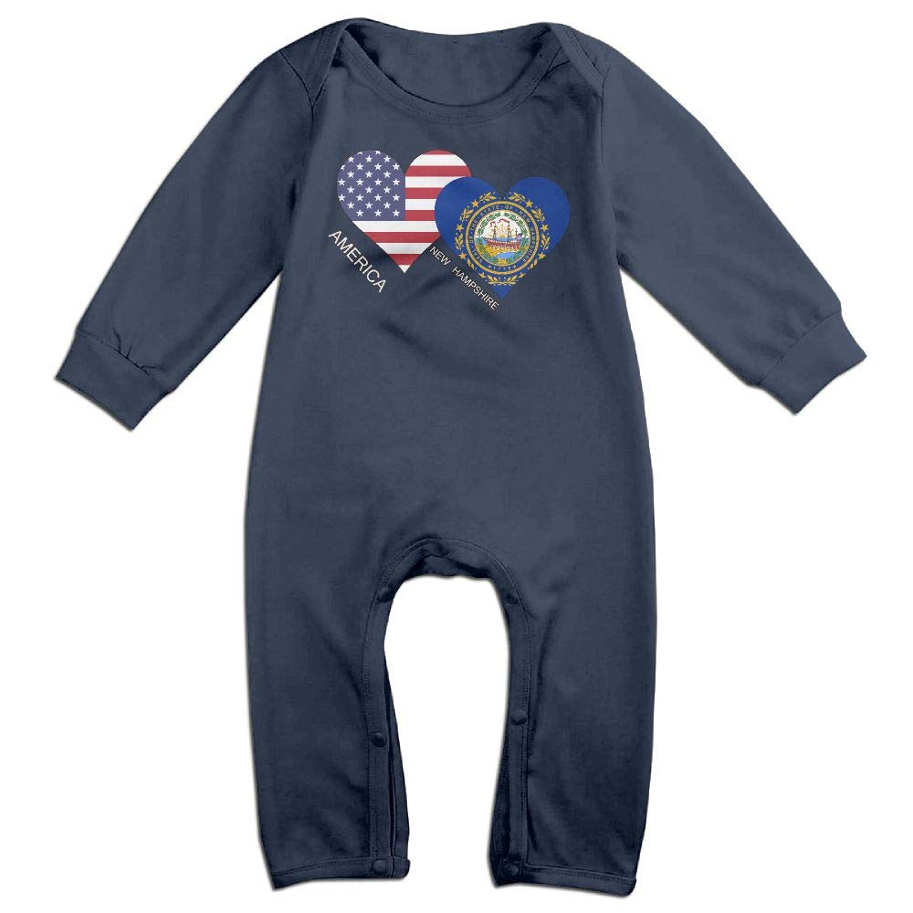 Mri-le1 Newborn Kids Jumpsuit America New Hampshire Flag Heart Baby Clothes