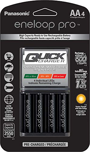 eneloop K-KJ55KHC4BA Panasonic Advanced 4 Hour Quick Battery Charger with 4AA Eneloop Pro High Capacity Rechargeable Batteries,