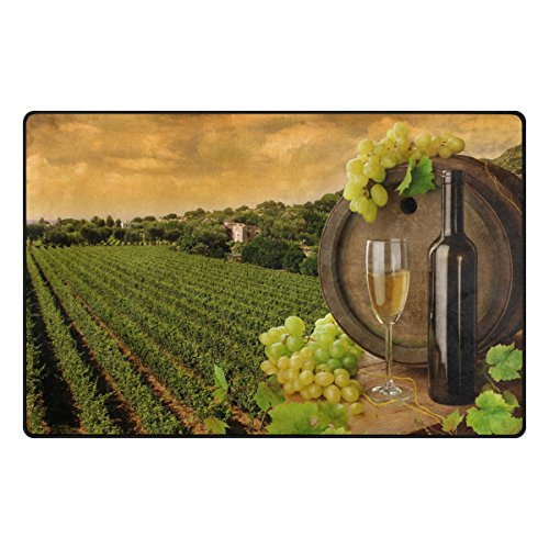 Doormat Area Rugs Outdoor Inside Mats Personalized Welcome Mats with Vineyard Wine for Chair Mat and Decorative Floor Mat for Office and Home (31 x 20 in & 60 x 39 (Vineyard Brown Area Rug)