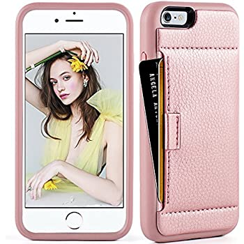 iphone 6 Wallet Case ,iphone 6 case with card holder , ZVE iphone 6s case Slim with wallet Credit Card Holder Shockproof Protective hybrid Leather Case For Apple iPhone 6 / 6s 4.7 inch (Rose Gold)