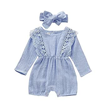 Weixinbuy Toddler Baby Girls Lace Long Sleeve Romper One Piece Overall Bodysuit with Headband 0-24 Months Blue