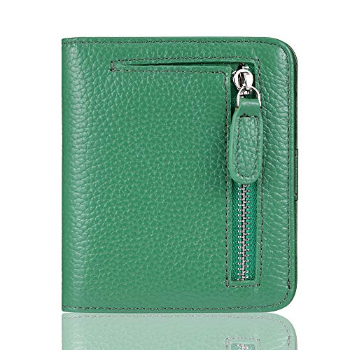 FUNTOR Leather Wallet for women, Ladies Small Compact Bifold Pocket RFID Blocking Wallet for Women, Green