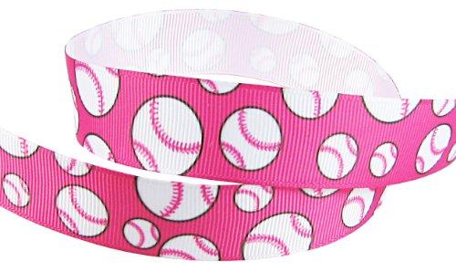 HipGirl Brand Printed Grosgrain Softball/Baseball Ribbon, 5 -Yard 7/8-Inch, Pink Ribbon Baseball