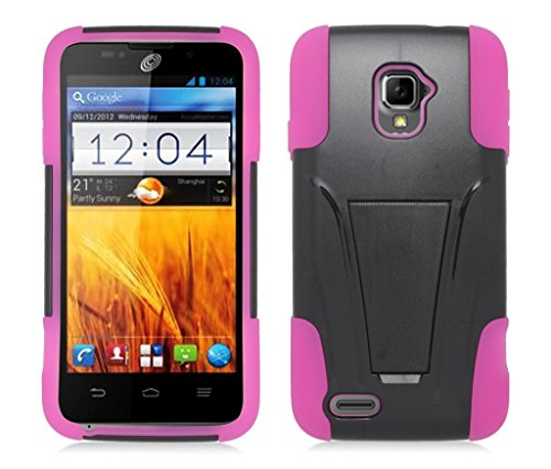 ZTE Rapido LTE Z932L (Straight Talk, Net 10) - Black and Hot Pink Dual Layer Impact Defender Shockproof Armor Kickstand Cover Case + Atom LED