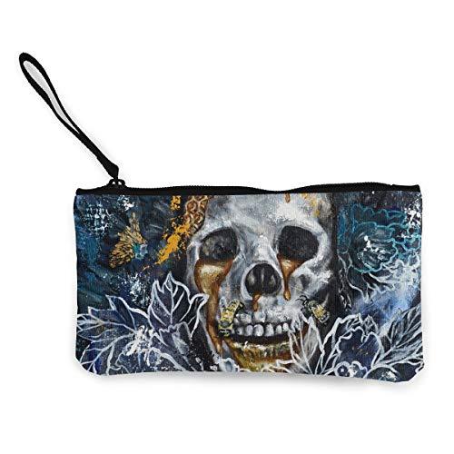 Oomato Canvas Coin Purse Oil Skull Bone Cosmetic Makeup Storage Wallet Clutch Purse Pencil Bag]()