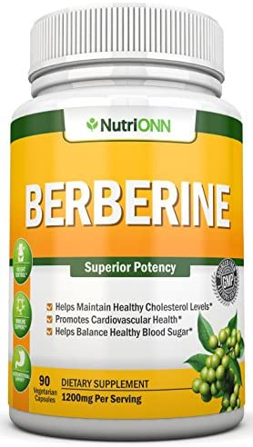 Berberine – 1200Mg Per Serving – 90 Vegetarian Capsules – Pure Berberine HCL Extract Supplement – Superior Potency to Support Healthy Blood Sugar, Weight Loss, Immunity and Healthy Cholesterol Levels