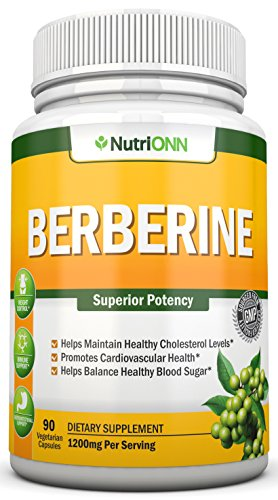 Berberine - 1200Mg Per Serving - 90 Vegetarian Capsules - Pure Berberine HCL Extract Supplement - Superior Potency To Support Healthy Blood Sugar, Weight Loss, Immunity and Healthy Cholesterol Levels