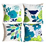 Decorative Pillow Cover - sykting Throw Pillow Covers Set of 4 Decorative Pillowcase 18x18 Birds & Flowers Series Cotton Linen Couch Pillow Cases