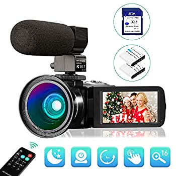 Image of Camcorders Video Camera Camcorder FHD 1080P 30FPS 24MP Digital YouTube Vlogging Camera 3.0 inch IPS Touch Screen IR Night Vision with Wide Angle Lens, External Microphone, Remote Control and 32GB SD Card
