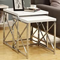 2 Piece Set of Nesting Tables Includes a Small and Large Square Shaped Nesting Table Smooth Glossy Spacious White Table Top Criss Cross Chrome Metal Base Contemporary Design Décor Style Home Interior