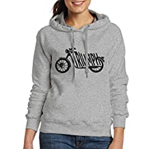 Triumph Motorcycles Logo Women Long Sleeve Enyo Pullover Hooded Sweatshirt Ash