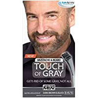 Just for Men Touch of Gray Mustache and Beard Brush-In Color, Dark Brown & Black (Packaging May Vary)