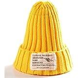 全12色 タグ付きニット帽 キャップ 帽子 フリーサイズ オールシーズン レディース メンズ ユニセックス シンプル