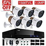 ELEC 8CH Channel HDMI DVR CCTV Home Video Security System + 6 Outdoor 1500TVL Security Camera 1.0MP Sensor, Remote Access Home Surveillance Kit