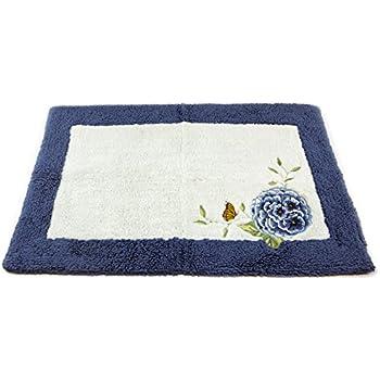 Amazon Com Lenox Embroidered And Applique Tufted Bath Rug