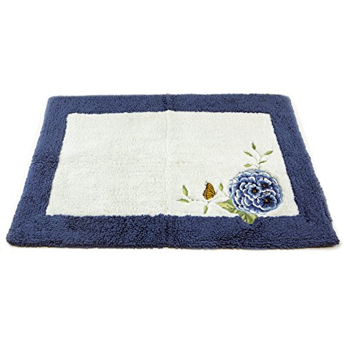 Butterfly Garden Rug (Lenox Embroidered and Applique Tufted Bath Rug, Blue Floral Garden)