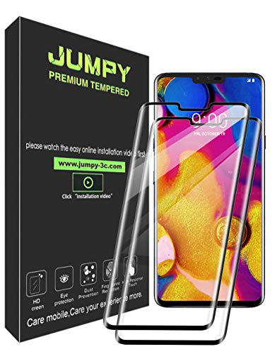 [2 Pack] JUMPY for LG V40 ThinQ Screen Protector, [3D Full Coverage] 9H Hardness Premium Tempered Glass with Lifetime Replacement Warranty.