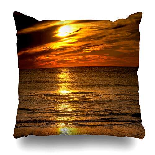 Ahawoso Throw Pillow Cover Orange Colors Sunset Sea Beach Nature Light Parks Florida Horizon Ocean Sky Design Sun Zippered Pillowcase Square Size 20x20 Inches Home Decor Pillow Case (Florida Victor Park)