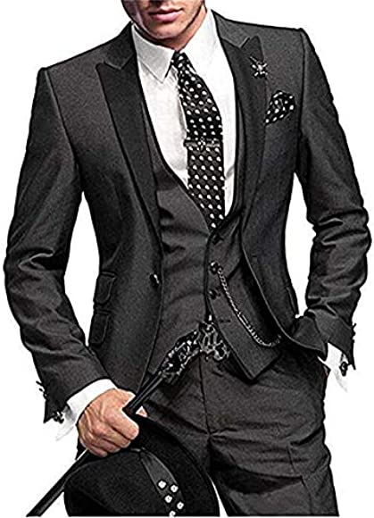 lovever Men Slim Fit One Button 3-Piece Suit Blazer Dress Suit Jacket Tux Vest /& Trousers Set