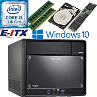 Shuttle SH110R4 Intel Core i3-7100 (Kaby Lake) XPC Cube System , 32GB Dual Channel DDR4, 120GB M.2 SSD, 1TB HDD, DVD RW, WiFi, Bluetooth, Window 10 Pro Installed & Configured by E-ITX