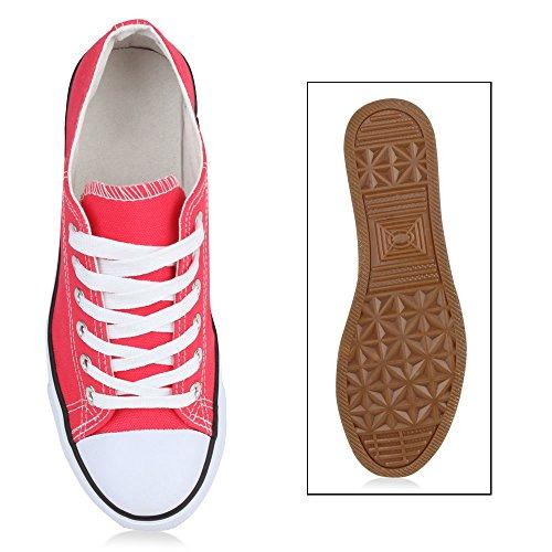 Sportliche Damen Sneakers Metallic Schuhe Schnürer Sneaker Low Spitze Turnschuhe Blumen Denim Stoffschuhe Flats Flandell Coral