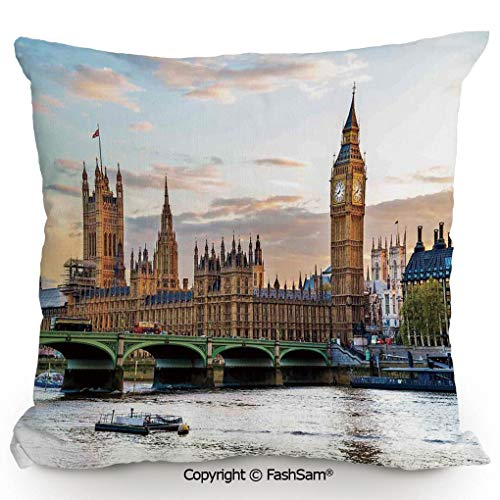 FashSam Polyester Throw Pillow Cushion Sunset Scenery of The Palace of Westminster Houses of Parliament and Big Ben Image for Sofa Bedroom Car Decorate(18