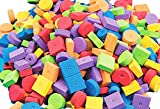 1695 Pack of 400 Foam Craft Stringing Lacing Beads with Holes, Assorted Bright Colors Multiple Sizes and Shapes for School Projects, Art Class, Jewelry Making.