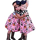 BELS Baby Girls Halloween Pumpkin Dots Printed Cartoon Princess Ruffle Sleeveless Dress (Pink, 4T)