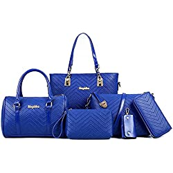 LaLagen 6PCS Embossed Bags Set Tote Messenger Clearance Crossbody Handbag Purses for Women Attractive-Blue