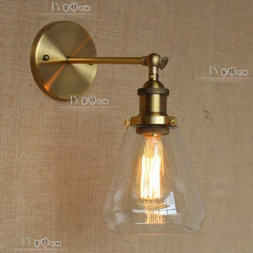 TheMonday Adjustable Iron E27 Wall Light Vintage Industrial Edison Metal Wall Lamp with Transparent Glass Lampshade Adjustable Swing Arm Wall Sconce Lights for Garage Basement Storage Room Stairs