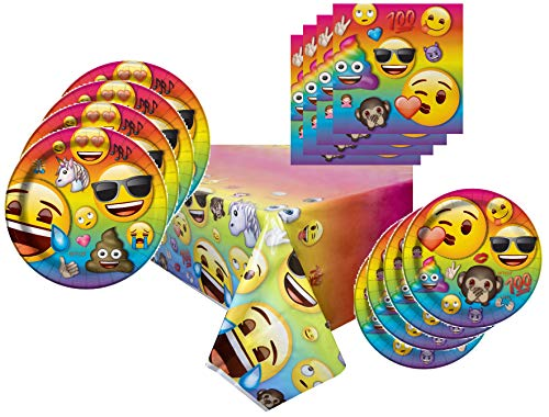 Emoji Party Supplies Tableware Bundle Pack For 16 Guests - Includes 16 Dinner Plates, 16 Dessert Plates, 16 Dinner Napkins, and 1 Tablecover -