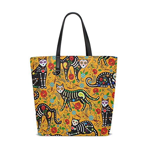 ALAZA Yellow Cat Paisley Skull Tote Bag Purse Handbag for Women Girls -
